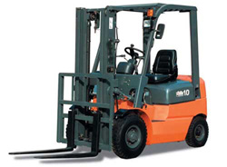 orange and gray forklift white background