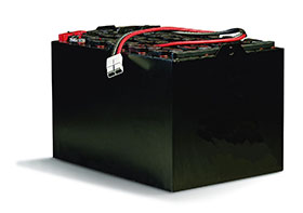 black forklift battery